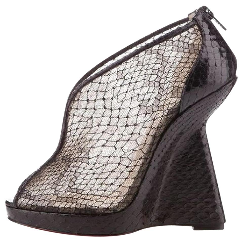 Janet Wedge Louboutin Sandals Christian Black Lace Python 39 Heel Boots Booties 5 qFZTTEw7U