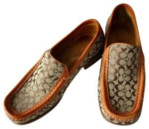 Coach Loafers Signature Slip On Leather tan Flats