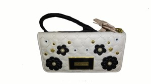 Betsey Johnson Multi compartment QUILTED SWAG / BONE/TAN wallet/wristlet