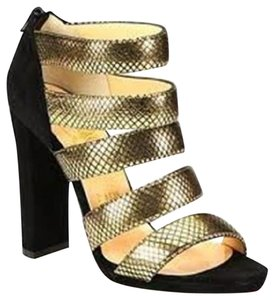 Christian Louboutin Bootie Mehari Strappy Gold Snake Black/Gold Sandals