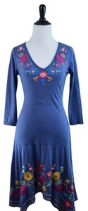 Johnny Was short dress blue Cotton V-neck 3/4 Sleeves Floral Embroidered on Tradesy