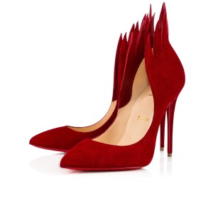 Christian Louboutin Victorina Stiletto Flame Leather Suede Red Pumps