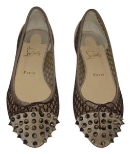 Christian Louboutin Red Sole Spiked Toe Louboutin Taupe / Brown Flats