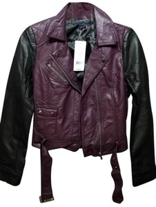 French Connection Black & Cherry Leather Jacket
