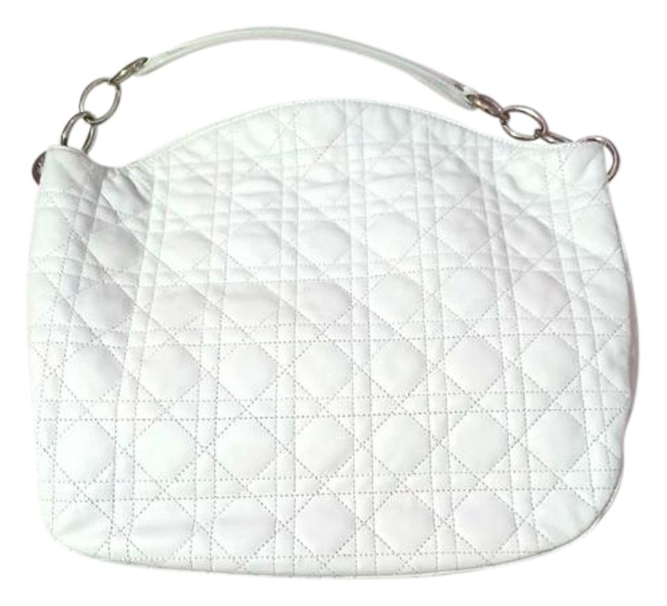 ddf3d29d1024 Dior Lady Dior Cannage Tote White Leather Hobo Bag - Tradesy