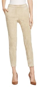 Theory Suede Leather Casual Festival Skinny Pants Classic Khaki Tan