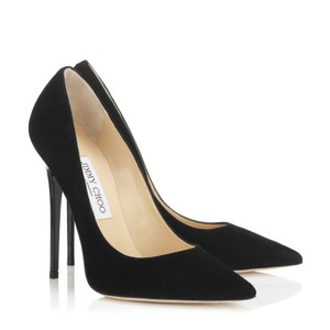 Jimmy Choo Suede Choo Stiletto Abel Black Suede Pumps