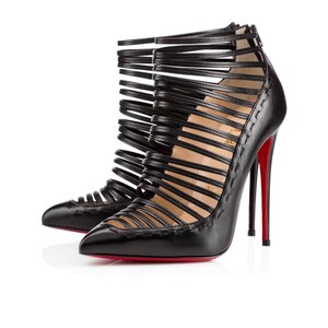 Christian Louboutin Caged Strappy Gortik Black Boots