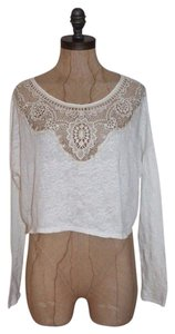 Free People Oversized Lace Trim Crop Longsleeve Top IVORY