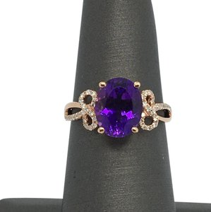 Other 14K Rose Gold Natural Amethyst and Diamond Ring