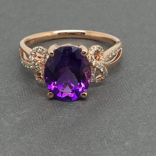 Other 14K Rose Gold Natural Amethyst and Diamond Ring Image 1