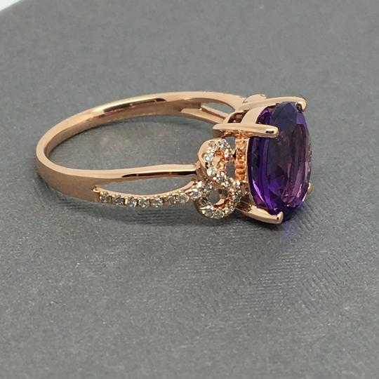 Other 14K Rose Gold Natural Amethyst and Diamond Ring Image 2