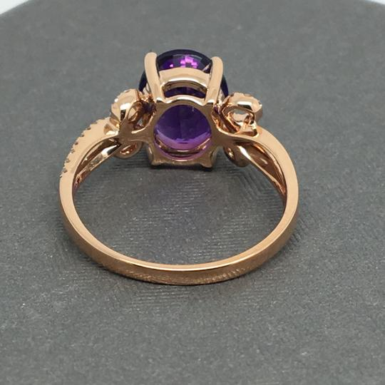 Other 14K Rose Gold Natural Amethyst and Diamond Ring Image 3