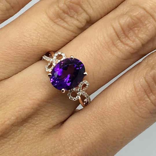 Other 14K Rose Gold Natural Amethyst and Diamond Ring Image 4