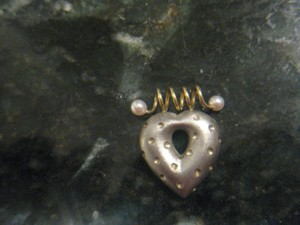 Laura Carley Signed Sterling Silver & 18kt Gold Puffed Heart Pendant w/pearls