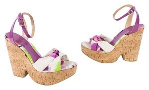Jimmy Choo Floral Cork Sandal Multi Color Wedges