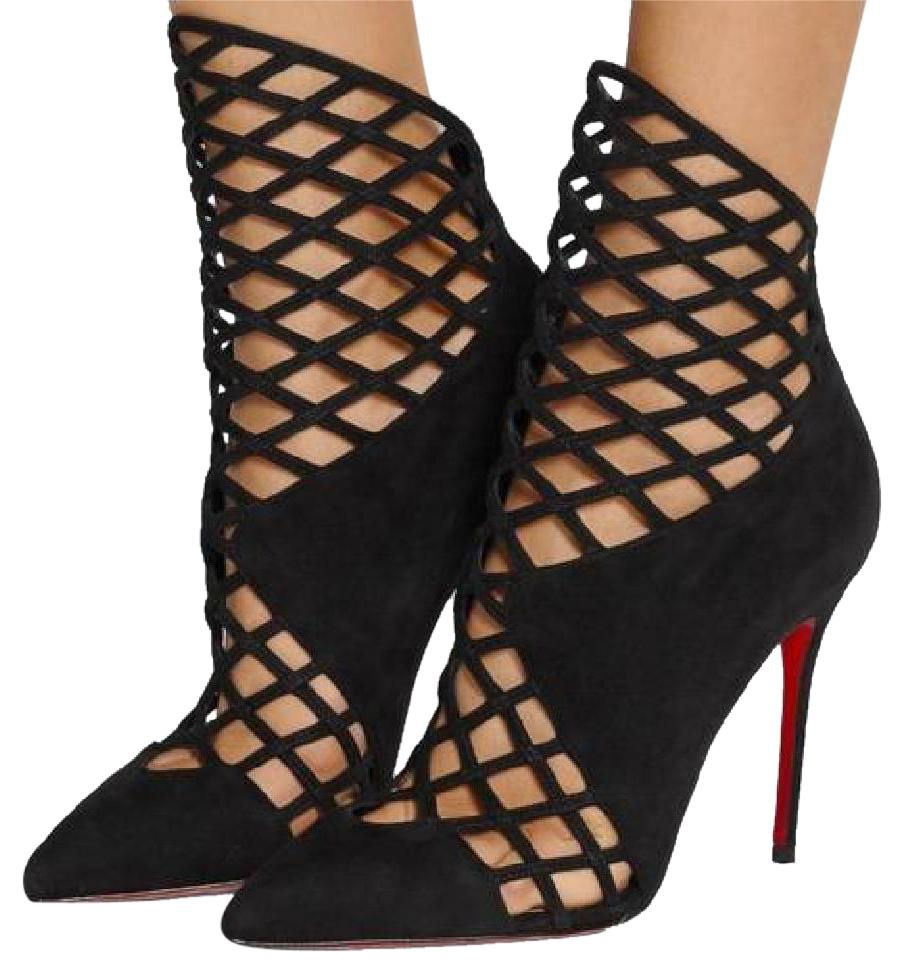42809066937 Christian Louboutin Black Mrs Bouglione Suede Caged Sandal Heels 36  Boots/Booties Size US 6 36% off retail
