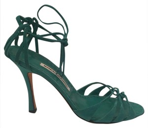 Manolo Blahnik Ankle Tie aqua green Sandals