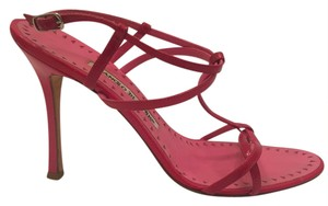 Manolo Blahnik Patent Leather hot pink Sandals