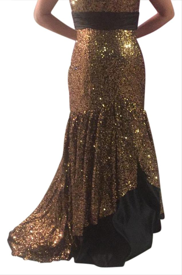 Precious Formals Black And Gold Lux Long Formal Dress Size 2 Xs