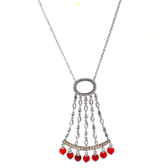 Other 14K White Gold Diamonds Sapphire Agate Necklace Image 1