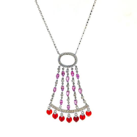 Other 14K White Gold Diamonds Sapphire Agate Necklace Image 5