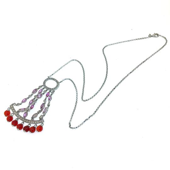 Other 14K White Gold Diamonds Sapphire Agate Necklace Image 7