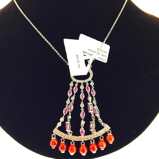Other 14K White Gold Diamonds Sapphire Agate Necklace Image 8