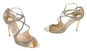 Jimmy Choo Wedding Strappy Cage Gold Glitter Sandals
