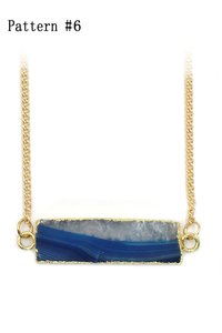 Ocean Fashion Fashion transparent natural stone golden necklace Pattern #6