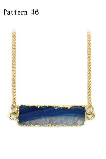Ocean Fashion Fashion transparent natural stone golden necklace Pattern #6 Image 1