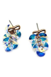 Ocean Fashion Lovely gold bow Swarovski crystal earrings