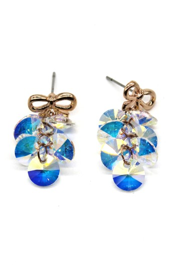 Ocean Fashion Lovely gold bow Swarovski crystal earrings Image 1