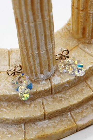 Ocean Fashion Lovely gold bow Swarovski crystal earrings Image 3