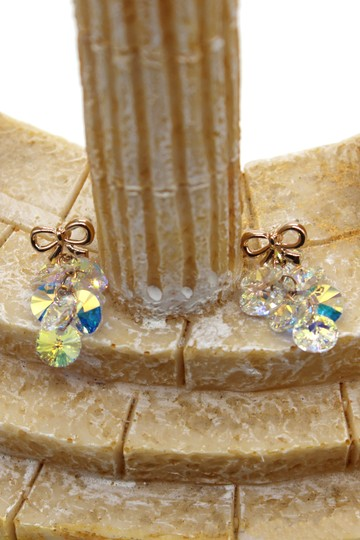 Ocean Fashion Lovely gold bow Swarovski crystal earrings Image 4