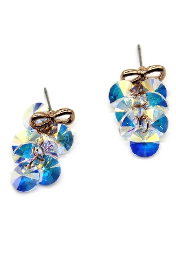 Ocean Fashion Lovely gold bow Swarovski crystal earrings Image 5