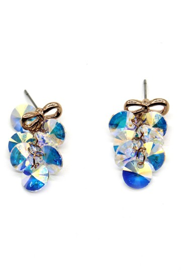 Ocean Fashion Lovely gold bow Swarovski crystal earrings Image 6