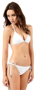 Voda Swim White Envy Push Up Pleated String Bikini Top