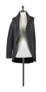 Theory Grey Fuzzy Knit Open Front Cardigan