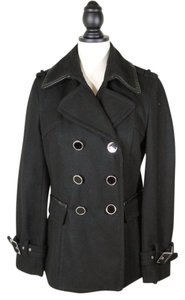 Express Double Breasted Wool Faux Leather Trim Pea Coat