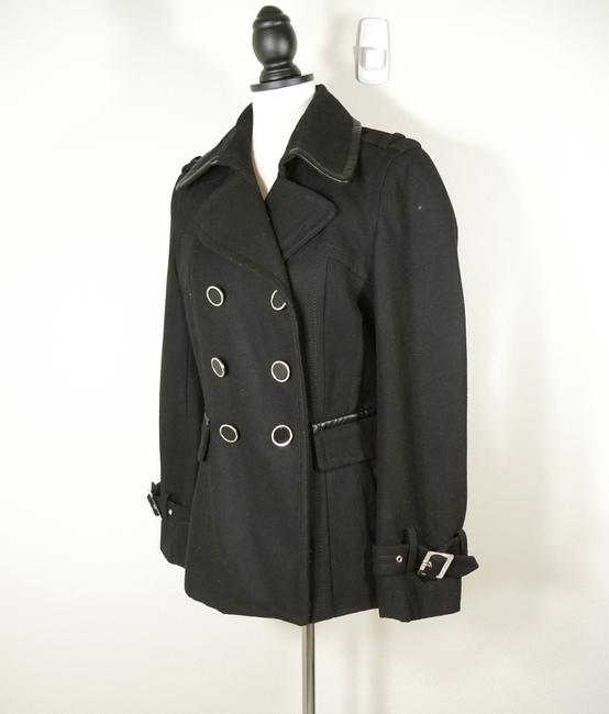 Express Double Breasted Wool Faux Leather Trim Pea Coat Image 2
