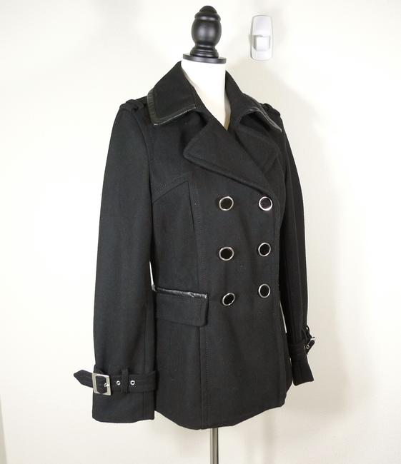 Express Double Breasted Wool Faux Leather Trim Pea Coat Image 3