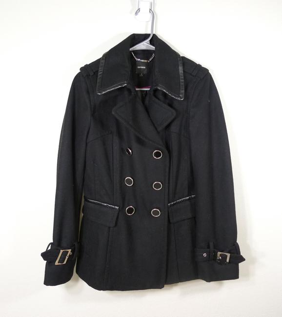 Express Double Breasted Wool Faux Leather Trim Pea Coat Image 6