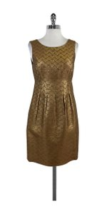 Lela Rose short dress Gold Metallic Sheath on Tradesy