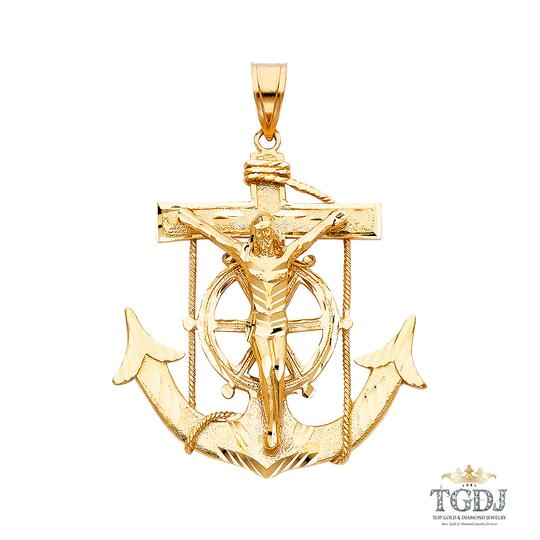 Top Gold & Diamond Jewelry 14K Yellow Gold Mariner Religious Crucifix Pendant Image 0