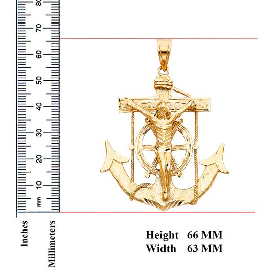 Top Gold & Diamond Jewelry 14K Yellow Gold Mariner Religious Crucifix Pendant Image 2