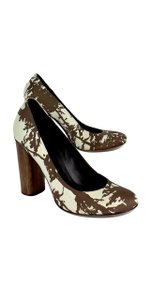 Tory Burch Brown Cream Print Bria Heels Pumps