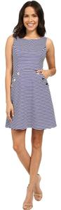 Jessica Simpson short dress Navy blue and white stripe Boat Party Ottoman Knit Summer on Tradesy