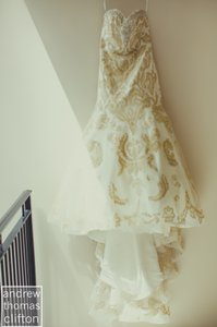 James Clifford Ivory/Gold Fit & Flare Gown Formal Wedding Dress Size 6 (S)