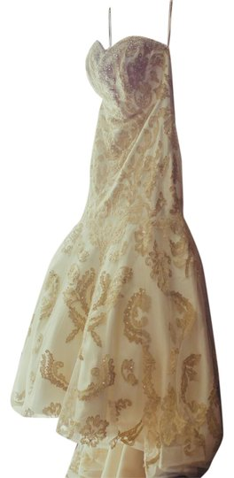 James Clifford Ivory/Gold Fit & Flare Gown Formal Wedding Dress Size 6 (S) Image 1